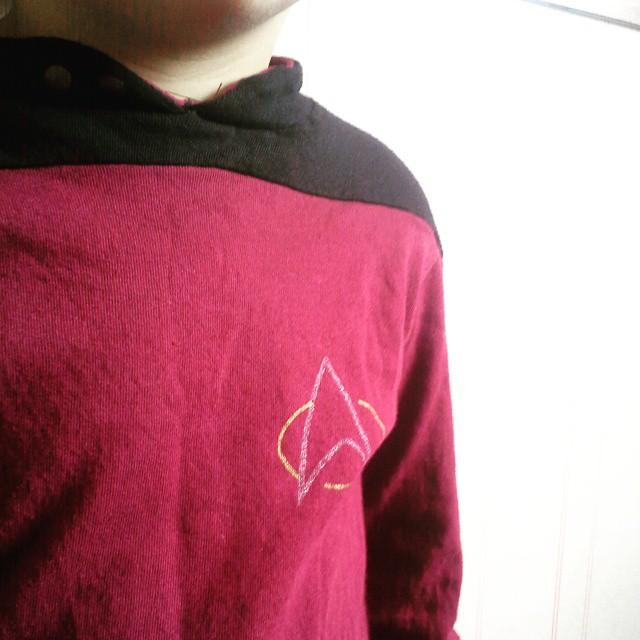 Utklädd till #förskolansdag - självklart blev det #StarTrek-tema till grabben.