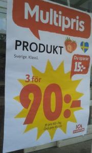"""Så härligt när ICA i Ulricehamn säljer produkten """"Produkt"""" till Multipris. 3 st """"Produkt"""" för 90 kronor. :)"""