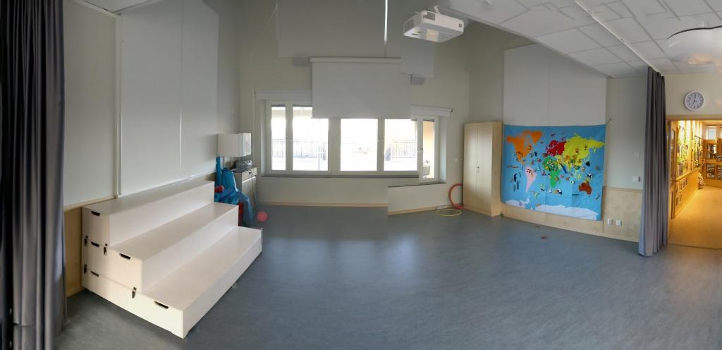 Totusrummet - en möjlig plats för ett förskolebibliotek. Den används som ett aktivitetsrum för hela Totus idag, och behöver så göras även i framtiden.